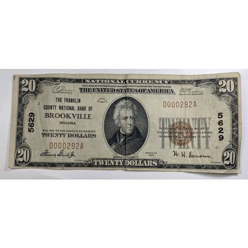 1929-$20 Franklin County National Bank Of Brookville, IN