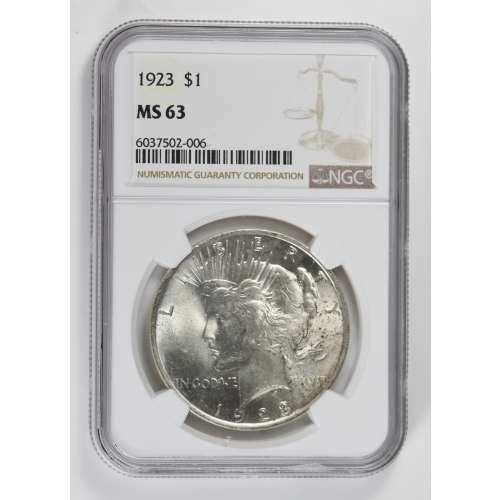 1923 Peace Dollar NGC MS63